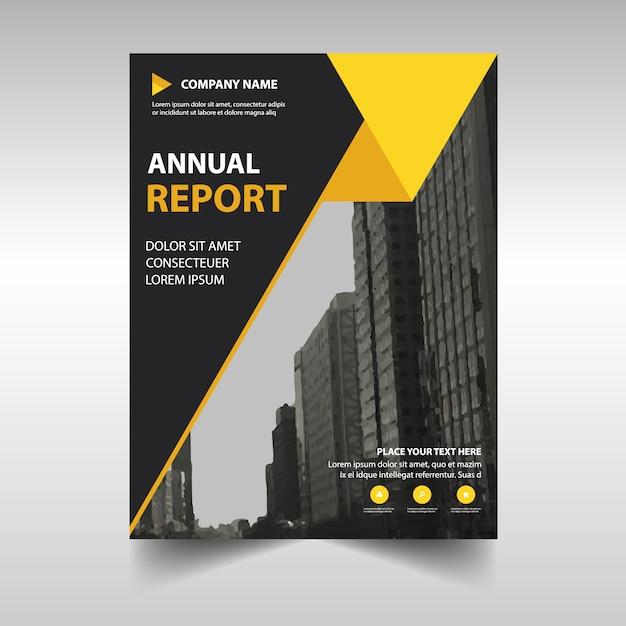 Molde amarelo creativo da tampa do livro do relatório anual Vetor grátis