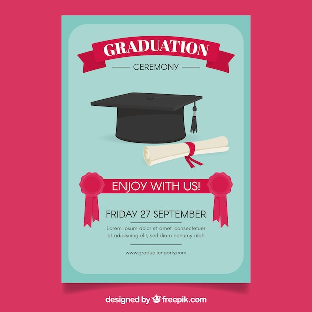 Molde azul do poster do partido com diploma e tampão da graduação Vetor grátis