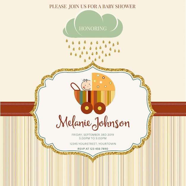 Molde bonito do cartão da festa do bebé com detalhes brilhando dourados Vetor grátis