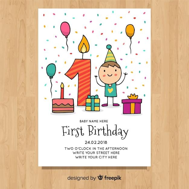Molde bonito do primeiro cartão de aniversário Vetor grátis