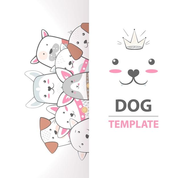 Molde bonito, legal, bonito, engraçado, louco, bonito do cão Vetor Premium