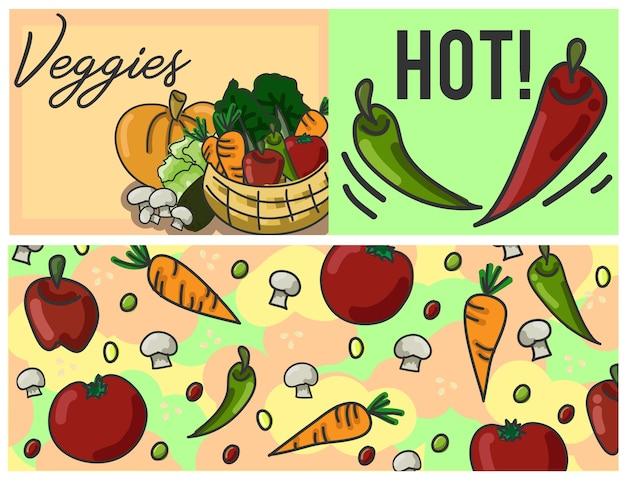 Molde colorido dos vegetarianos Vetor Premium