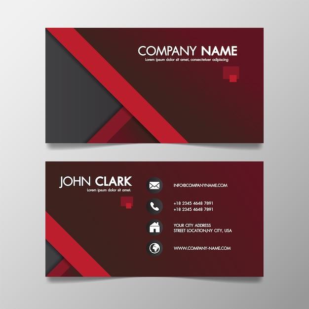Molde criativo moderno vermelho e preto do negócio modelado e cartão conhecido. Vetor Premium