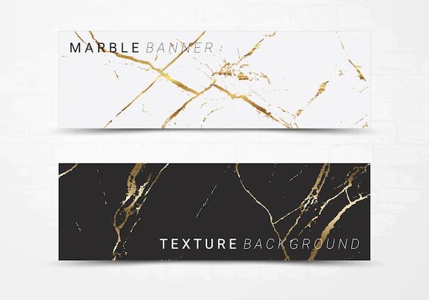Molde da bandeira do fundo de textura de mármore preto e branco. Vetor Premium
