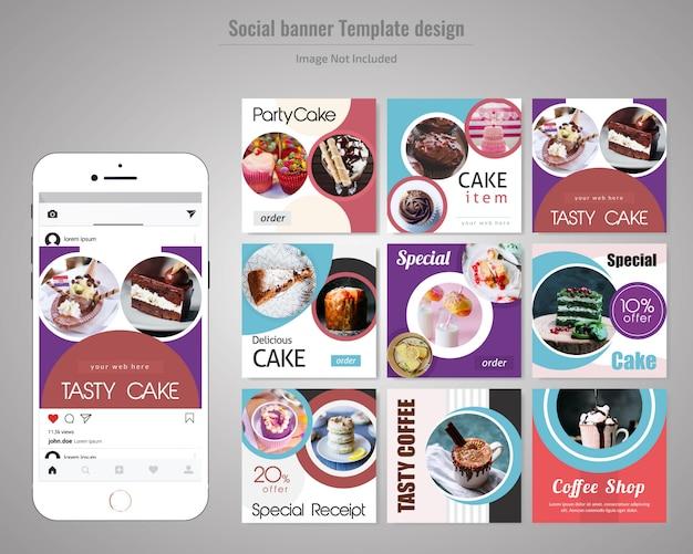 Molde da postagem de mídia social de bolo Vetor Premium