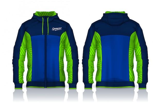 Molde das camisas do hoodie projeto de jaqueta, parte dianteira da trilha do sportswear e vista traseira. Vetor Premium