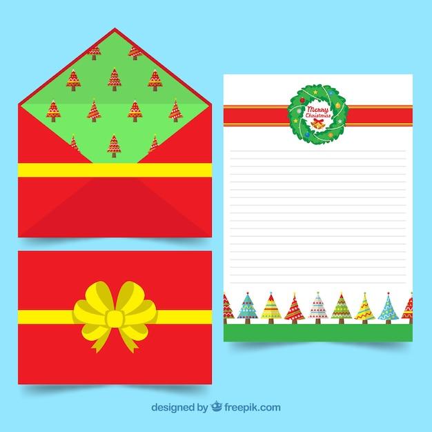 Molde De Carta De Natal Com Um Envelope Vermelho Decorado Como Uma