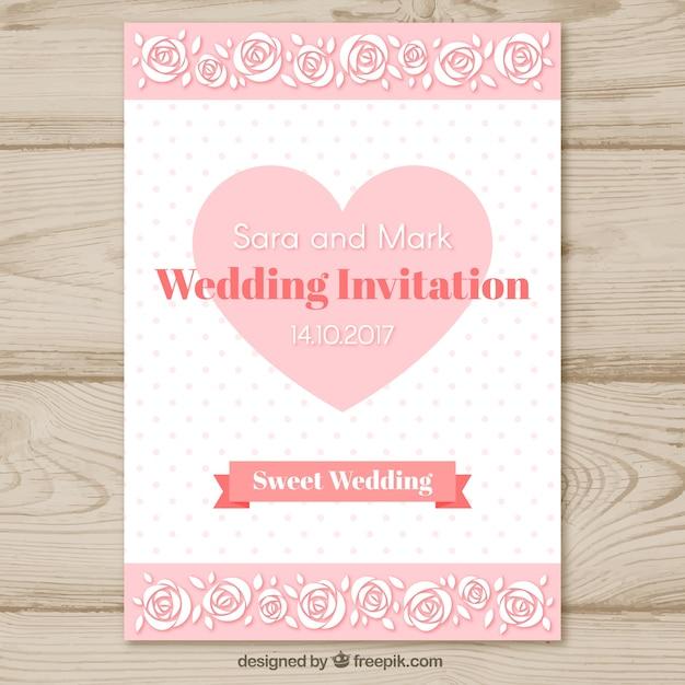 Molde de convite de casamento com coração Vetor grátis