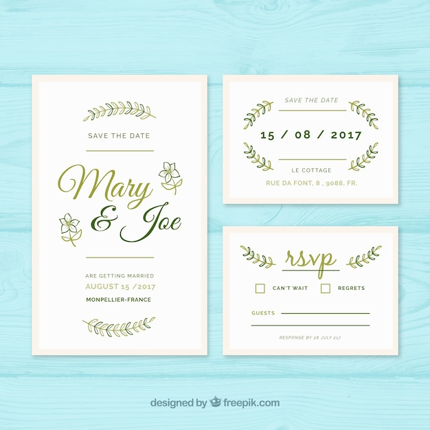 molde de convite de casamento com elementos verdes baixar vetores