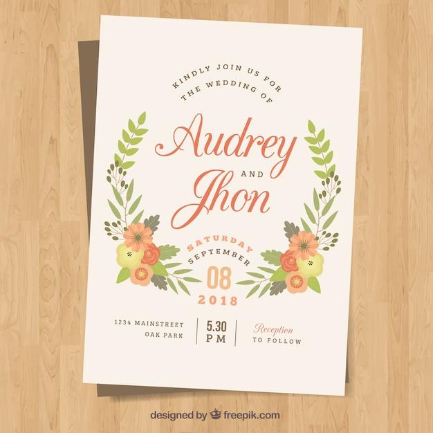 molde de convite de casamento com flores coloridas em design plano