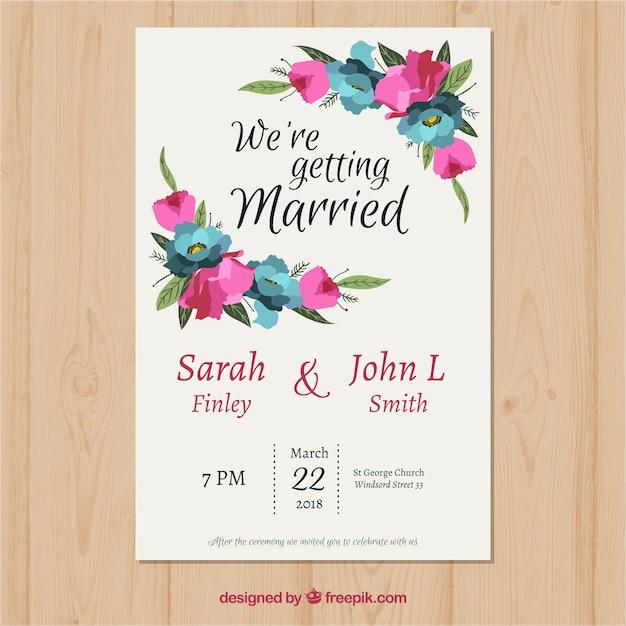 molde de convite de casamento com flores poligonais baixar vetores