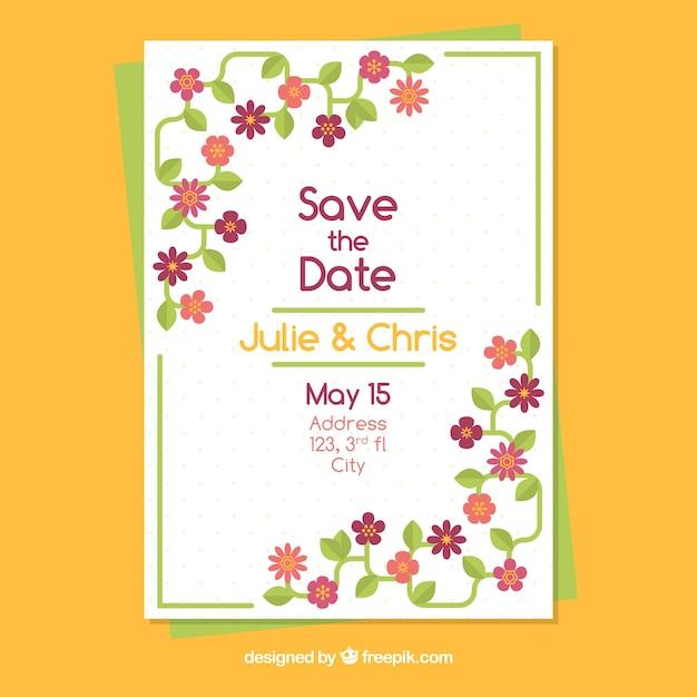 molde de convite de casamento com lindas flores baixar vetores grátis