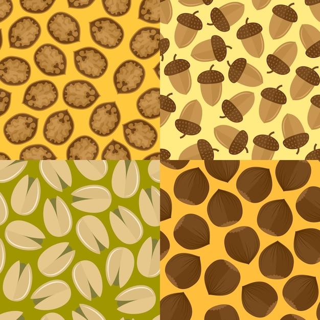 Molde de nozes e sementes com padrões sem costura, ilustração vetorial isolada. Vetor grátis