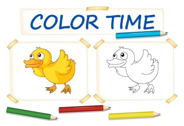 Molde De Papel Colorido Com Pato Pequeno Vetor Premium