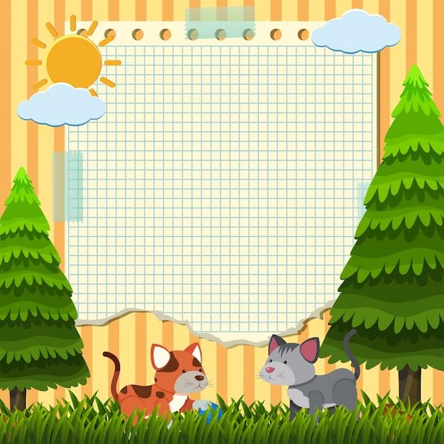 Molde de papel com dois gatos no parque Vetor Premium