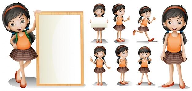 Molde de placa com menina em diferentes ações Vetor grátis