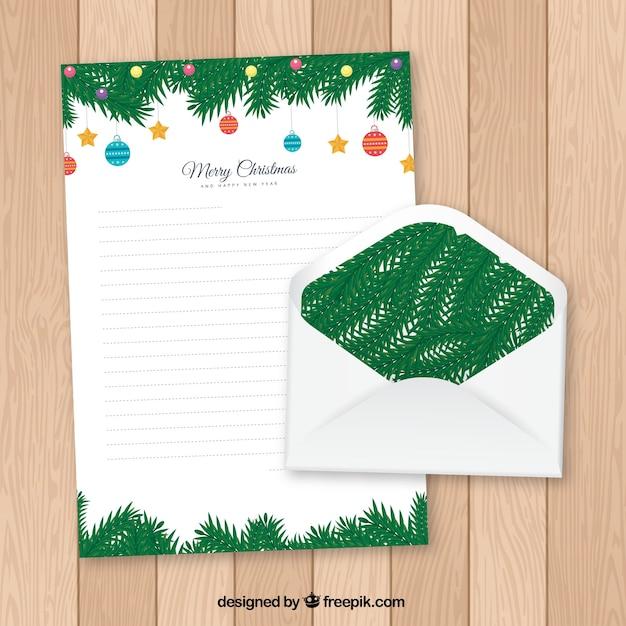 Molde Decorado De Uma Carta De Natal Em Um Envelope Vetor Gratis