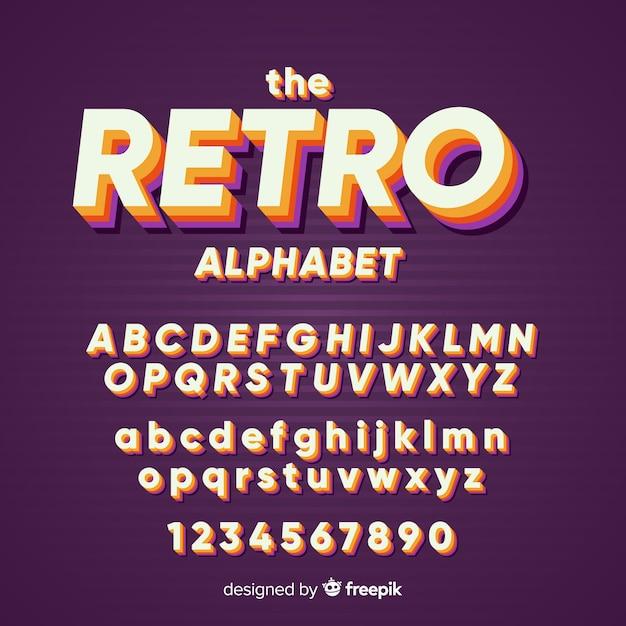 Molde decorativo do alfabeto retro stytle Vetor grátis
