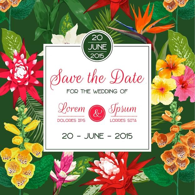 Molde do convite do casamento com tiger lily flowers e folhas de palmeira. economias florais tropicais o cartão de data Vetor Premium