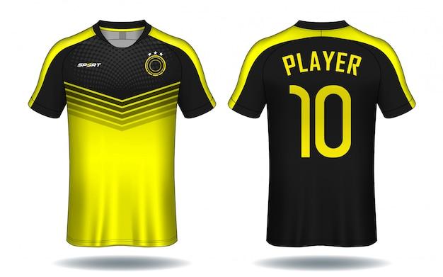 Molde do jérsei de futebol projeto do t-shirt do esporte. Vetor Premium