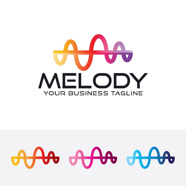 Molde do logotipo da arte da melodia Vetor Premium