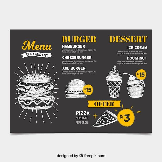 Molde do menu do restaurante em estilo quadro-negro Vetor grátis