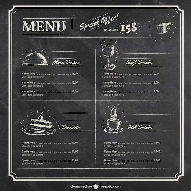 Molde do menu no quadro-negro Vetor grátis