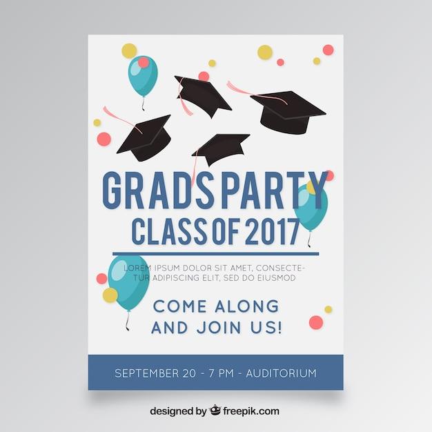 Molde do poster do partido com balões e tampões da graduação Vetor grátis