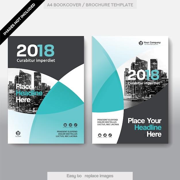 Molde do projeto da capa do livro do negócio do fundo da cidade Vetor Premium