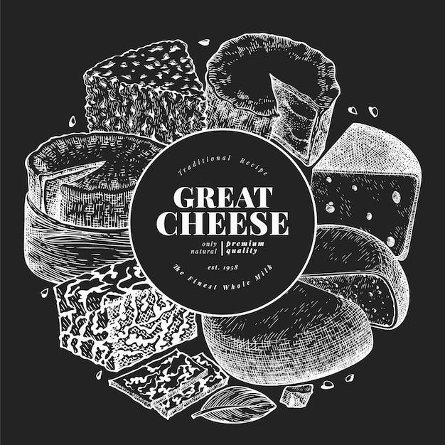 Molde do projeto do queijo. mão-extraídas ilustração vetorial de laticínios no quadro de giz. bandeira de diferentes tipos de queijo de estilo gravado. fundo de comida vintage. Vetor Premium