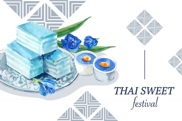 Molde doce tailandês da bandeira com pudim, aquarela mergulhada da ilustração da geléia. Vetor grátis