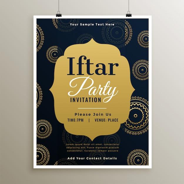 Molde dourado do partido iftar islâmico do ramadã Vetor grátis
