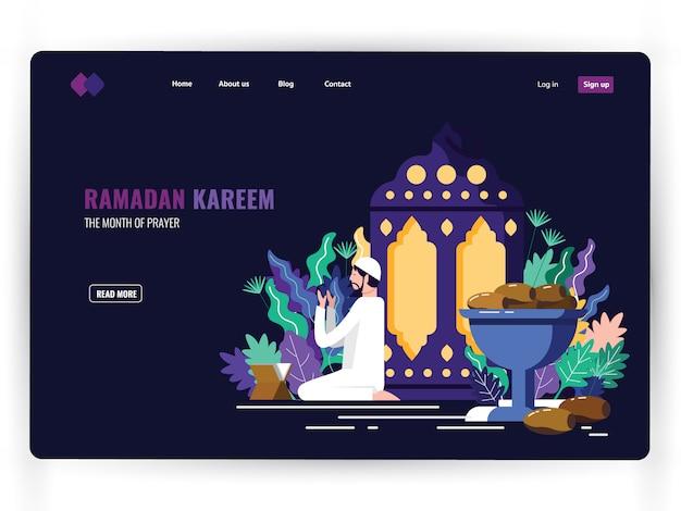 Molde escuro da página da aterrissagem do mês santamente da oração, ramadan kareem. Vetor Premium