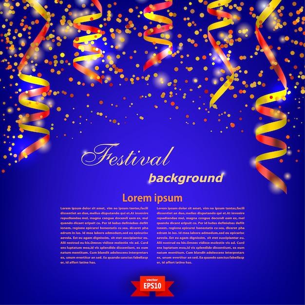 Molde festivo azul do fundo com a serpentina vermelha brilhante. festival. ilustração vetorial Vetor Premium