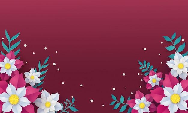 Molde floral e da flor do quadro no conceito da arte do papel de vetor. Vetor Premium