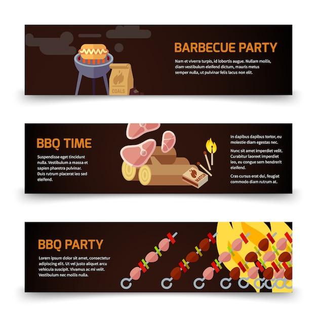 Molde horizontal das bandeiras do bbq e do bife. carne, carvão, lenha e churrasco Vetor Premium