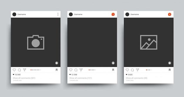 Molde isolado do quadro da foto da rede social. imagem postando conceito de vetor de rede Vetor Premium
