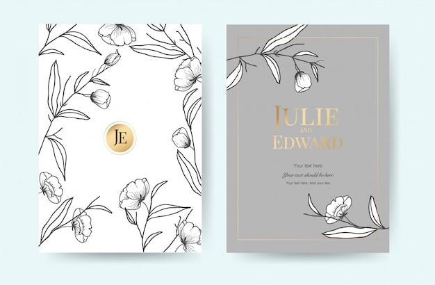 Molde luxuoso dos cartões do convite do casamento com estilo floral do vintage. Vetor Premium