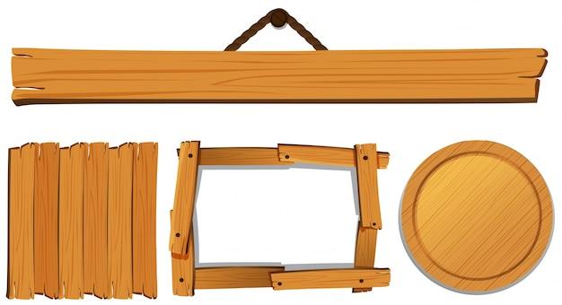 Moldes diferentes para ilustração de placa de madeira Vetor grátis