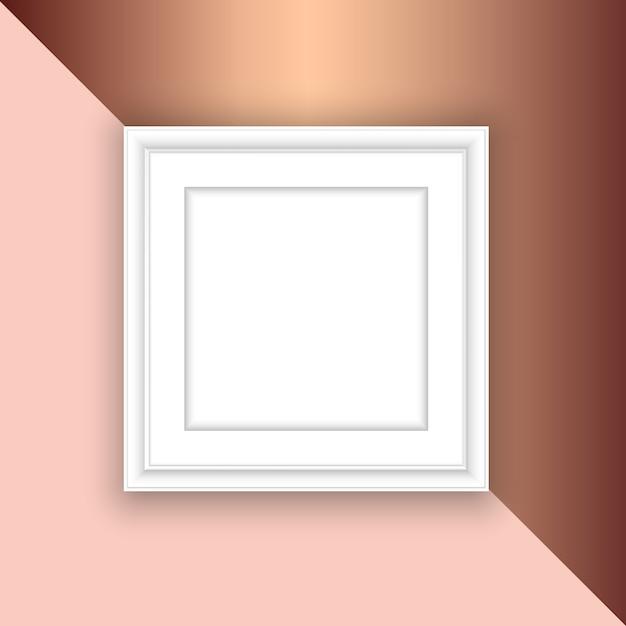 Moldura branca em branco sobre um fundo rosa de ouro Vetor grátis