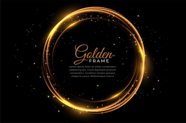 Moldura brilhante dourada abstrata com brilhos Vetor grátis
