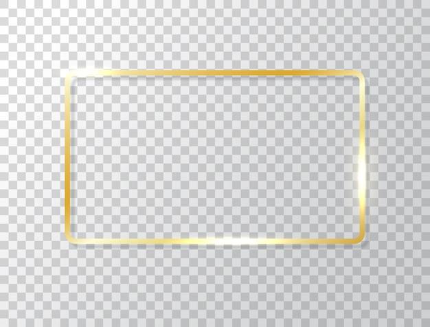 Moldura brilhante isolada em fundo transparente. fronteira de retângulo de luxo de ouro. faixa dourada com efeitos de luzes. Vetor Premium