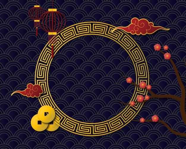 Moldura chinesa para o ano novo em estilo de corte de papel Vetor Premium