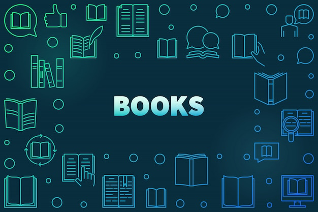 Moldura colorida de livros feita com ícones lineares de livro Vetor Premium