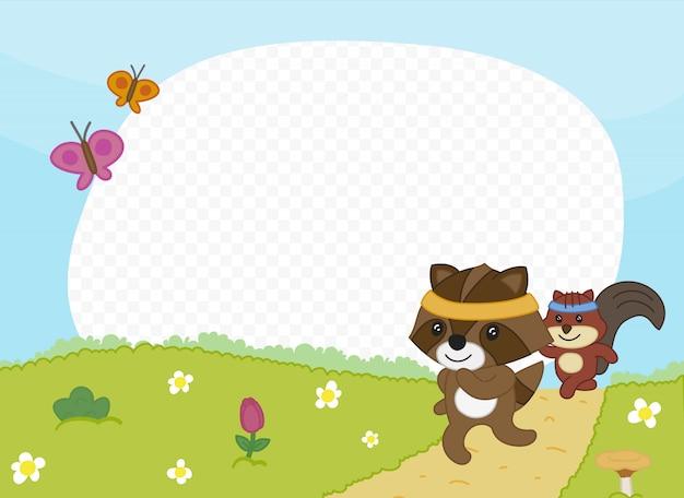 Moldura com amigos correndo ao ar livre Vetor Premium