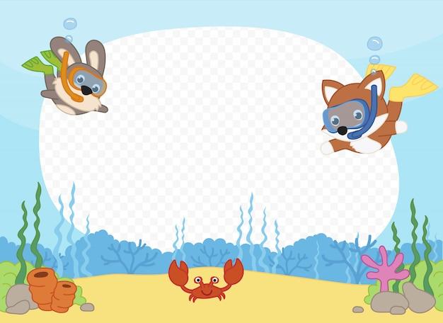 Moldura com amigos no mar praticando snorkeling Vetor Premium
