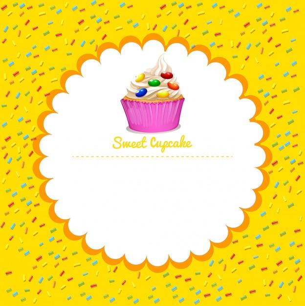 Moldura com cupcake Vetor grátis