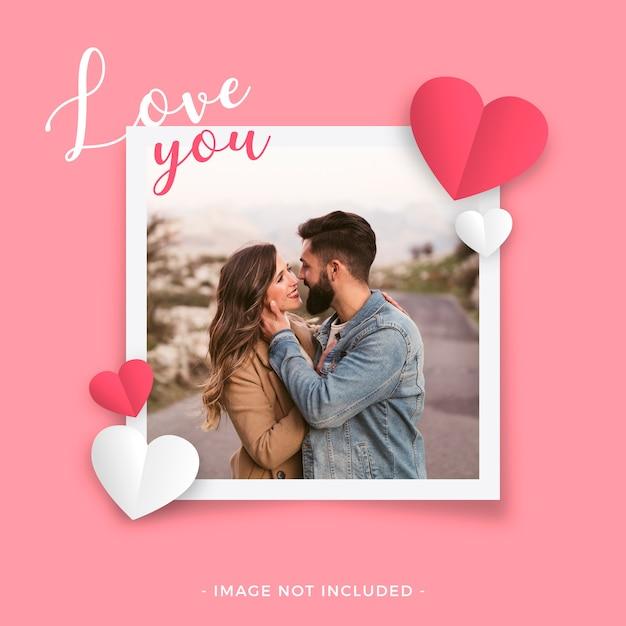 Moldura de amor para dia dos namorados Vetor grátis