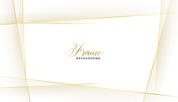 Moldura de belas linhas douradas em fundo branco Vetor grátis