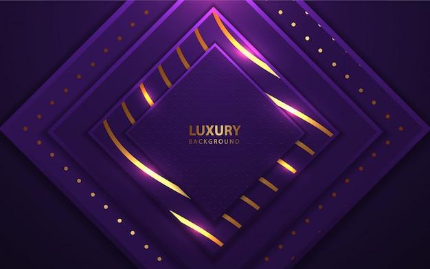 Moldura de camadas quadradas de luxo com elemento de brilhos Vetor Premium